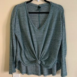 Wild Fable Deep V Tie Front Thermal Top